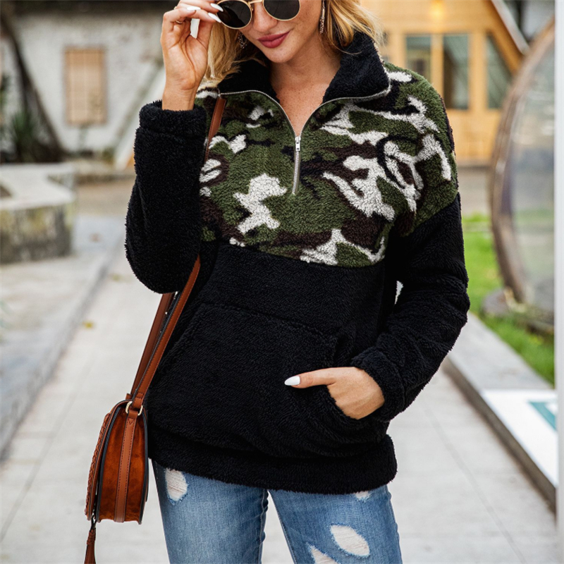 3Color Fleece Sweater Fashion Camo Patchwork Fluffy Thick Sweaters Warm Zipper Pullovers Women Winter Clothes Coat Sherpa Tops