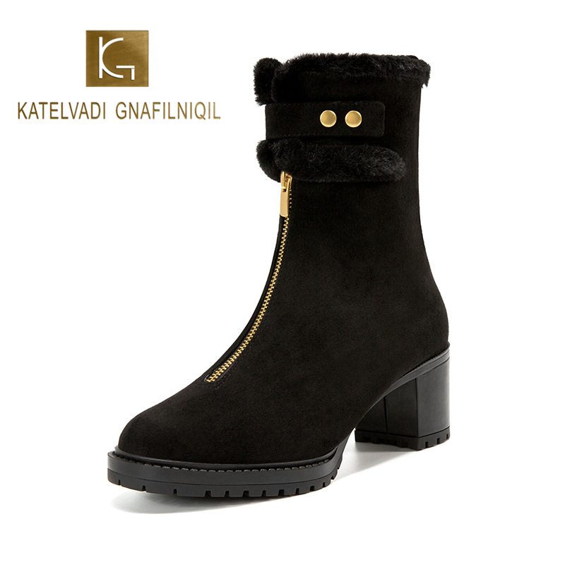 KATELVADI Women Ankle Winter Boots Zip Black Motorcycle Flock Fashion and Comfortable 5.5CM High Heels K-600