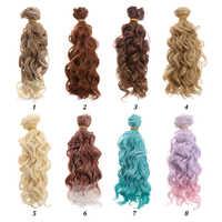 Pelucas rizadas de peripelucas de moda de 15*100cm 1/6 1/4 con tornillo, pelucas rizadas de pelo de muñeca, Mini pelucas de pelo de muñeca, peluquín de juguete de alta temperatura