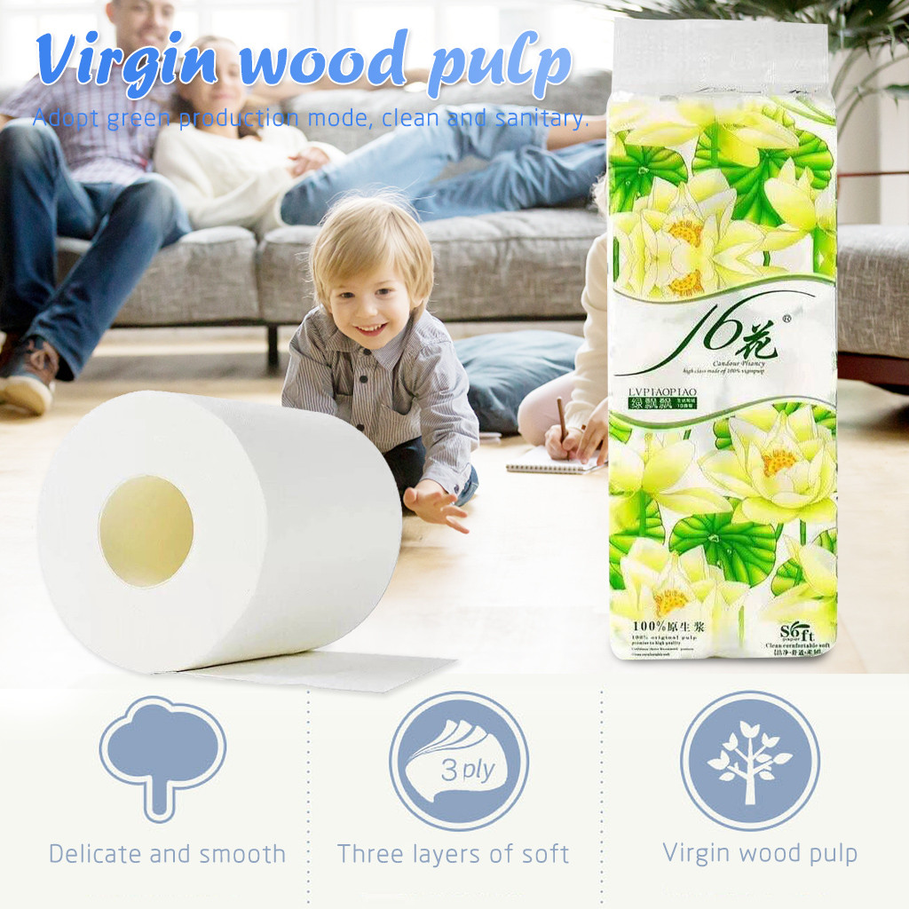 Fast Shopping Toilet Roll Paper 4 Layers Home Bath Toilet Roll Paper Primary Wood Pulp Toilet Paper Tissue Roll Wholesale