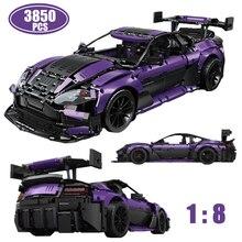 3850pcs High-tech 1:8 Purple Sports Car Model Building Blocks Creativity MOC GT3 Supercar Racing Brick Kids Toys For Boys Gifts