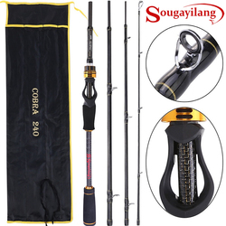 Sougayilang Fishing Rod 1.8-2.4m Casting Fishing Rod 99% Carbon Fiber Fishing Rod 4 Sections M/MH Power Rod for Fishing Pesca