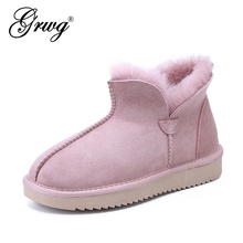 Women Boots Sheepskin Fur-Lined Winter Shoes Ankle Fashion GRWG for Short Basic 100%Natural