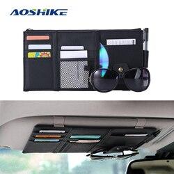 AOSHIKE Car Sun organizer visor Auto parasolka worek do przechowywania torebki z ekoskóry okulary przeciwsłoneczne pióro narzędzie portfel akcesoria do wnętrza samochodu|Daszki sportowe|   -