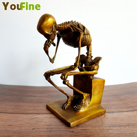 Bronze sitting figure skeleton bone skull thinker statue abstract art desktop decoration ornaments
