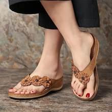 Nova moda feminina cunha slides bonito flor sandálias sapatos feminino praia flip flops senhoras mulher sandálias senhora casual slides