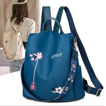 Laamei de alta calidad Mochila De mujer Oxford bordado Floral bolsas de la escuela hembra impermeable mochilas para chicas adolescentes