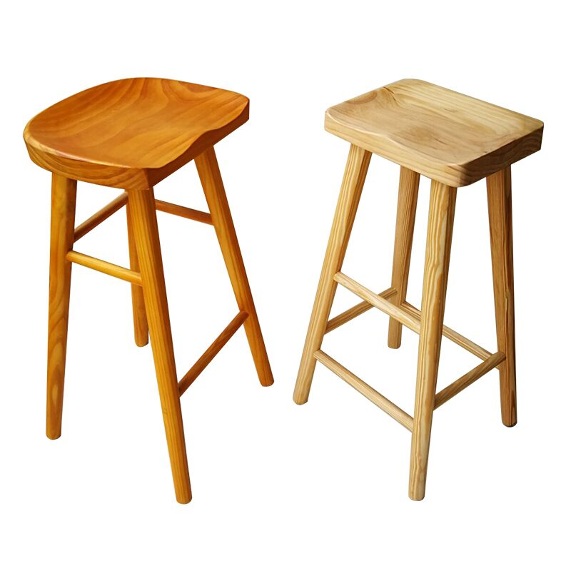 Nordic Simple Modern Log Bar Chair Domestic Solid Wood   Dining Table Stool High Foot