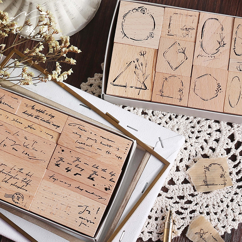 Vintage English Flowers Label Decoration Stamp Wooden Rubber Stamps For Scrapbooking Stationery DIY Craft Standard Stamp