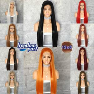 Image 5 - BeautyTown perruque Lace Front Wig synthétique, grande perruque à dentelle, 13x6 marron noir, Futura sans raie, résistante à la chaleur, sans emmêlement, avec couche de maquillage quotidienne