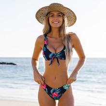 Miturn-Conjunto de Bikini con estampado de nudo para mujer, de dos piezas de cintura baja traje de baño, ropa de playa, 2021