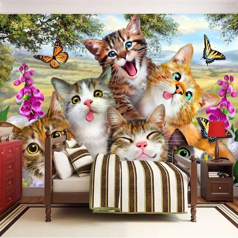 Kustom Ukuran 3D Foto Wallpaper Lucu Kartun Kucing Potret Diri Kamar Anak anak Kamar Tidur Living