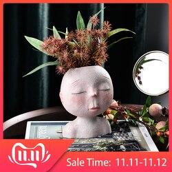 Cabeça humana nordic vaso vaso de flores forma boneca escultura resina retrato vaso de flores arte casa decoração suculentas cabeça forma vaso