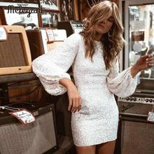 Melegant Sequined Sexy Bodycon Party Silver Dress Women Long Sleeve Mini Feminine Autumn Winter 2019 Dresses Vestidos
