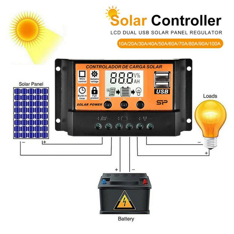10-100a mppt/pwm controlador de carga solar duplo usb 12v/24v regulador de tensão do controlador de carga da bateria do painel solar automático