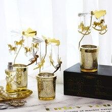 Candle-Holders Hanging Rotating-Candlesticks Glass Iron Wedding-Desktop-Decorations Snowflake-Pattern