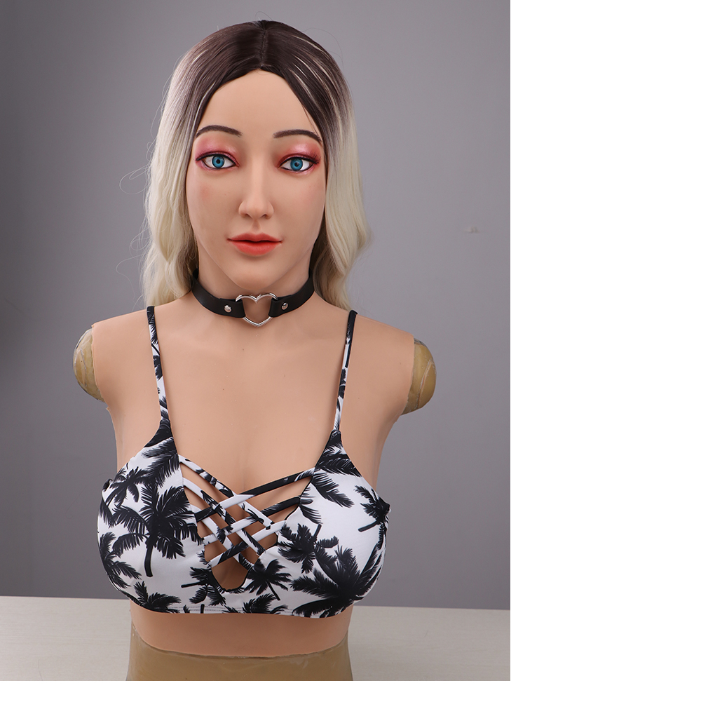 Eyung crossdresser silicon mask with d cup boobs realistic female goddess face human mask Halloween Masquerade party ball mask (8)