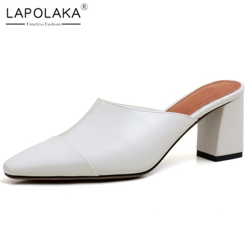 Lapolaka 2020 New Fashion Genuine Cow Leather Chunky High Heels Concise Pumps Women Shoes Slip On Elegant Woman Pumps Female