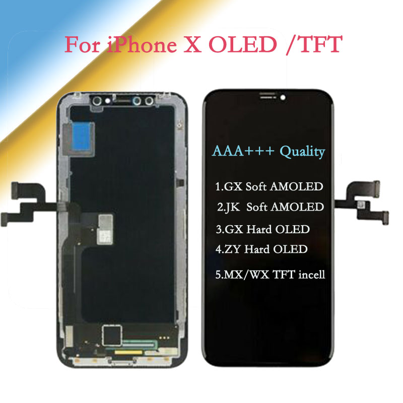 AAA+++ For IPhone X AMOLED JK/GX-Soft-OLED Touch Screen With Digitizer Assembly GX/ZY-Hard-OLED  Replacement Display TFT LCD
