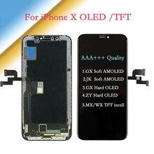 AAA + + + آيفون X AMOLED JK/GX لينة شاشة OLED تعمل باللمس مع محول الأرقام الجمعية GX/ZY الصلب OLED استبدال عرض TFT LCD