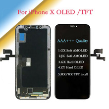 AAA + + + iPhone X için AMOLED JK/GX yumuşak OLED dokunmatik ekran Digitizer meclisi ile GX/ ZY sert OLED yedek ekran TFT LCD