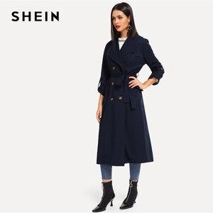 Image 3 - SHEIN 海軍圧延タブスリーブダブルブレストベルト延縄女性の秋ポケットエレガントな Highstreet 上着コート
