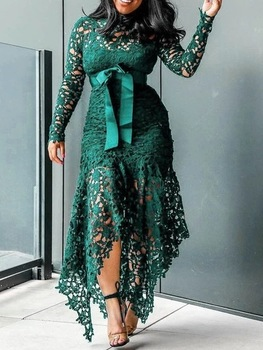Echoine Slim Sexy Dress Women Spaghetti Straps Lace Mesh Perspective Party Fishtail Patchwork Midi Bodycon Plus Size Vestidos 6