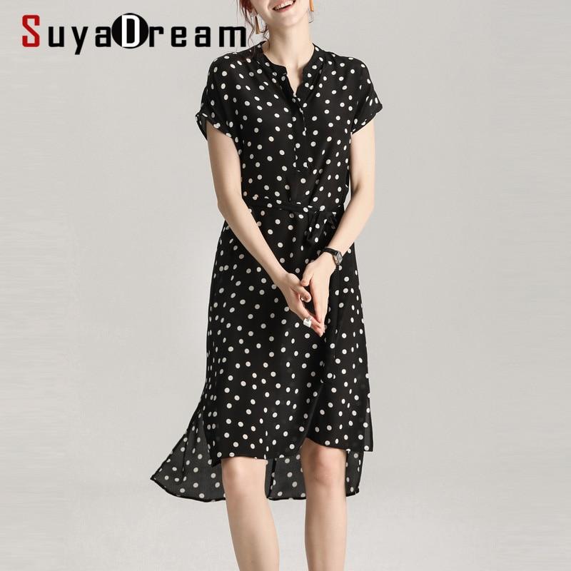 SuyaDream Women Dots Dress 100%Silk Crepe Bat Short Sleeved Belted Knee Length Silk Printed Dresses 2020 Spring Summer New