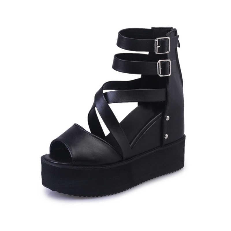 Kadın yaz düz platformu açık Toe kama sandalet kadın çapraz kadın kapak topuk fermuar sandalet bayan yüksek artan ayakkabı yeni