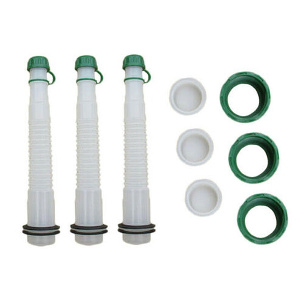 3 Pcs/Set ABS Plastic Replacement Gas Can Spout & Parts Kit Rubber Gasket Stopper Spout Cap Lot Flexible Fuel Spout With Cap New