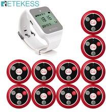Retekess TD108 水ギセルワイヤレスポケットベルレストランウェイター通話システムの時計受信機 + 10 個のボタン送信機バーカフェオフィス