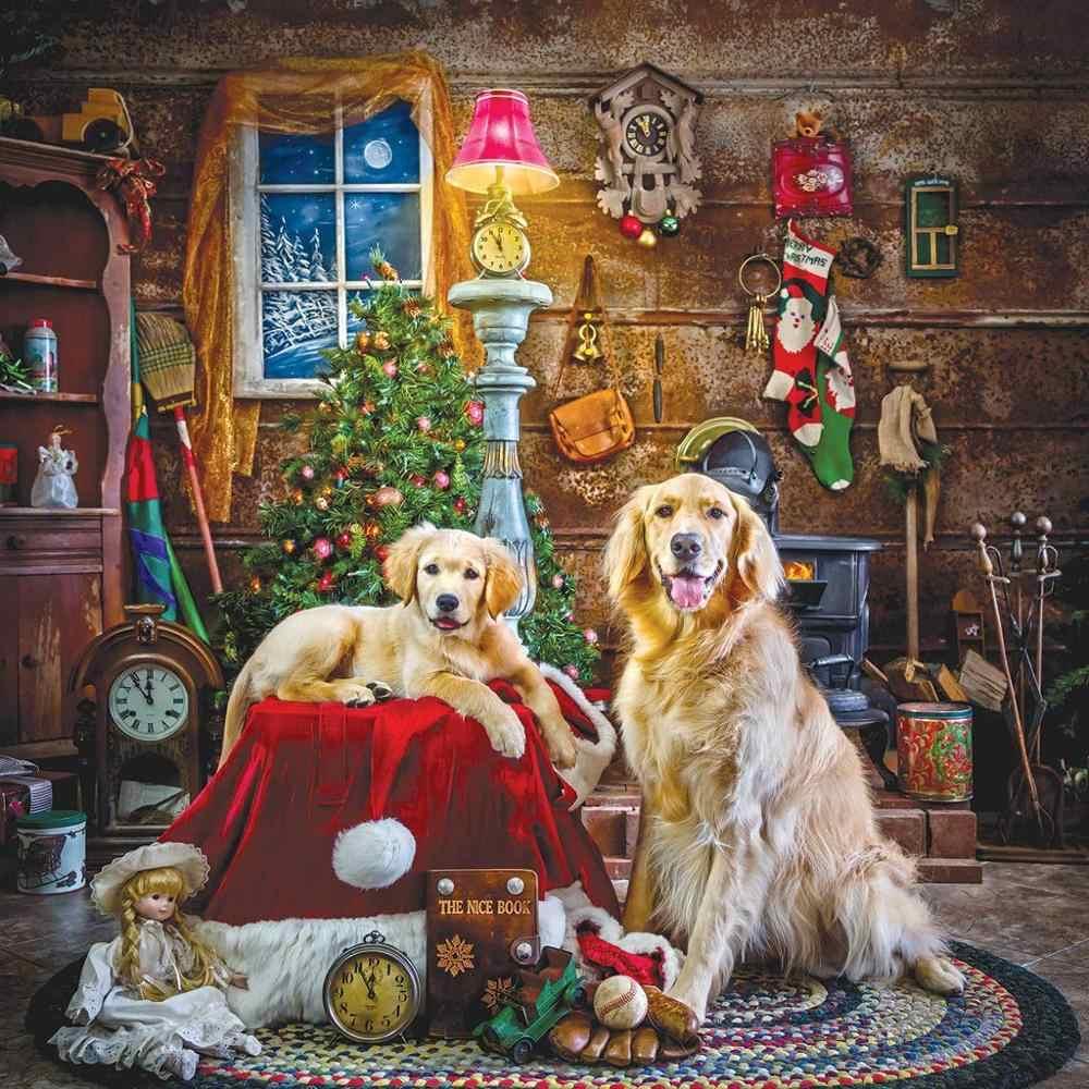 5D יהלומי ציור ערכות למבוגרים ילדים כלב גור תרגיל מלא יהלומים dotz עבור חג המולד יום על ידי TOCARE סנטה של העוזרים הקטנים