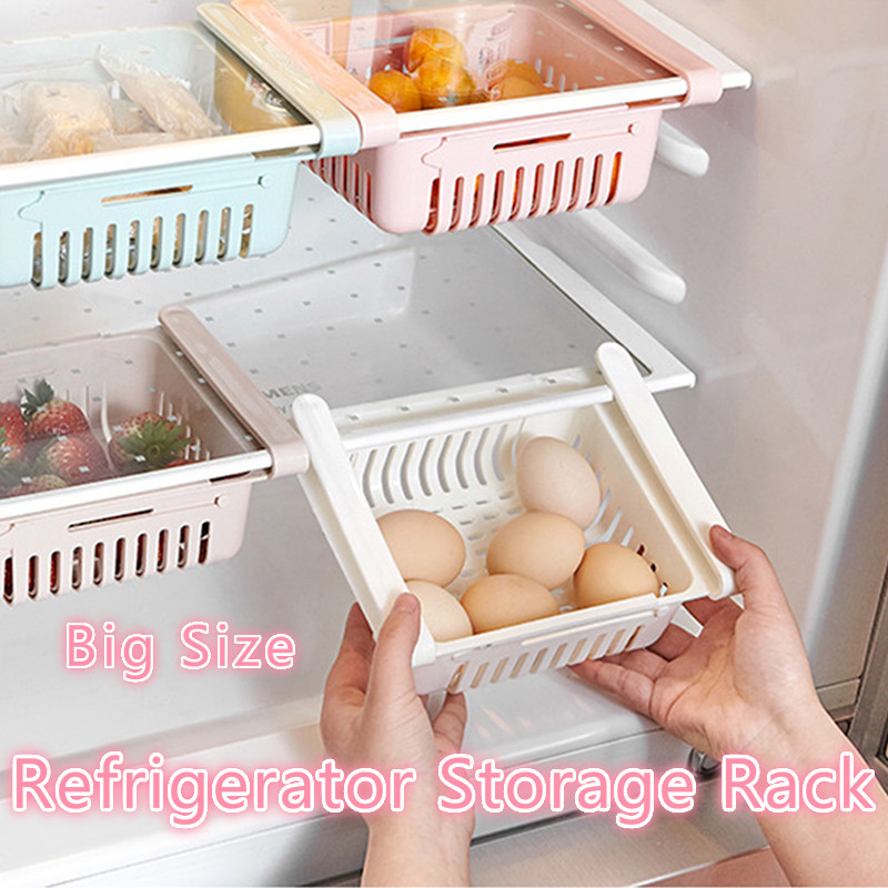 Fridge Freezer Shelf-Holder Storage-Rack Refrigerator Kitchen-Organizer Drawer Pull-Out