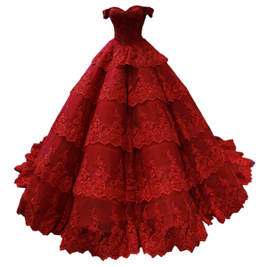 Image 5 - Customize Ball Gown Puffy Ruffle Tulle Lace Appliques Luxury Long Wedding Dress Wedding Gowns 2020 Mariage Bride Dress FR06M