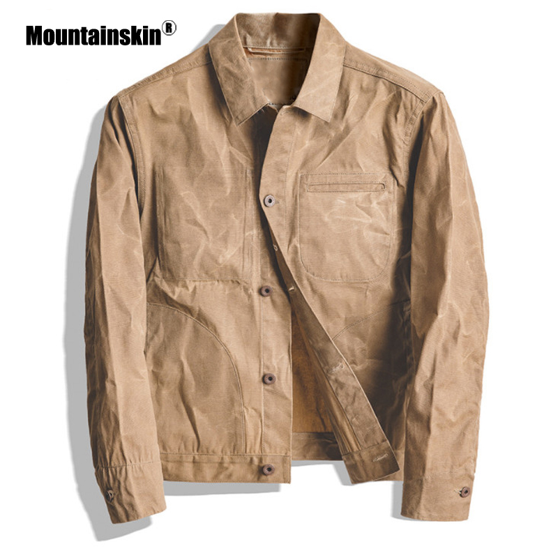 Mountainskin New Mens Jacket Cool Fashion Classic Retro Coat Men Khaki Oil Wax Canvas Jacket Slim Fits Male Brand Clothing SA844