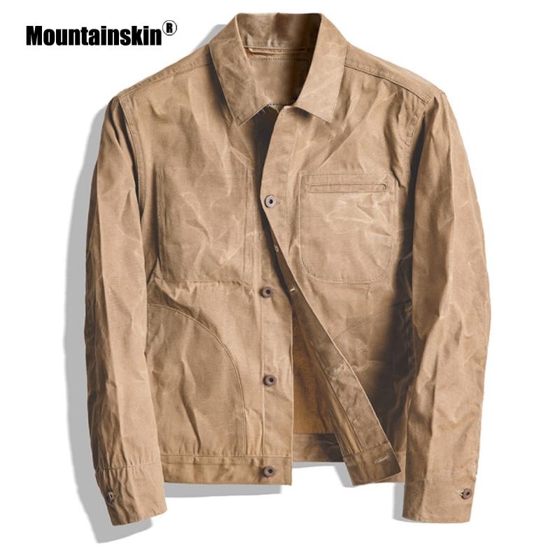Mountainskin New Mens Jacket Cool Fashion Classic Retro Coat Men Khaki Oil Wax Canvas Jacket Slim Fits Male Brand Clothing SA844