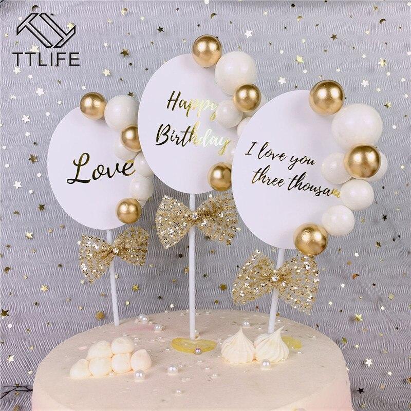 1Pc Acrylic Heart Shape Cake Topper Glitter Decoration Birthday Wedding Supplies