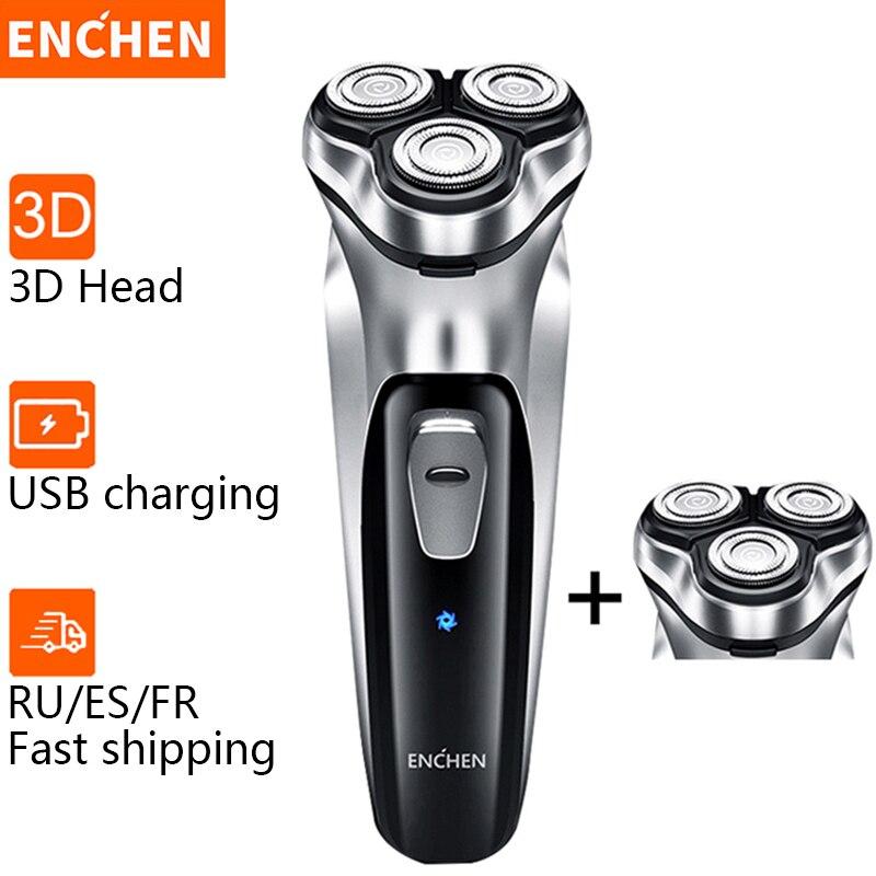 Enchen elektrikli tıraş makinesi erkek tıraş sakal düzeltici tıraş erkekler için 3 bıçakları taşınabilir sakal düzeltici kesme makinesi favoriler 5