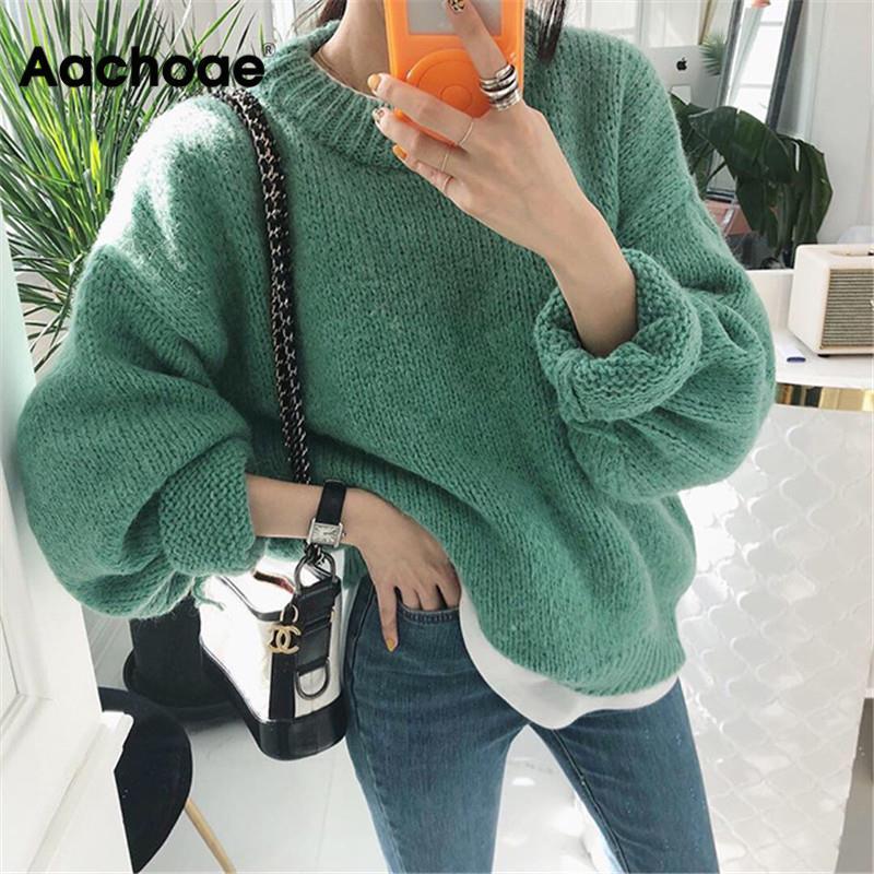 Suéter de mujer 2020 Otoño Invierno moda sólido cuello redondo pulóver suéters de estilo coreano de punto de manga larga Jumpers Casual Tops