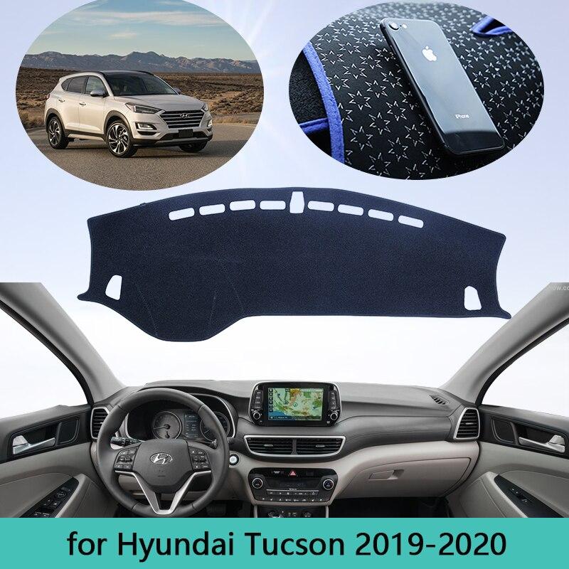Car Dashboard Avoid Light Pad Instrument Platform Desk Cover Mats Carpet For Hyundai Tucson TL Facelif 2019 2020 Car decoration