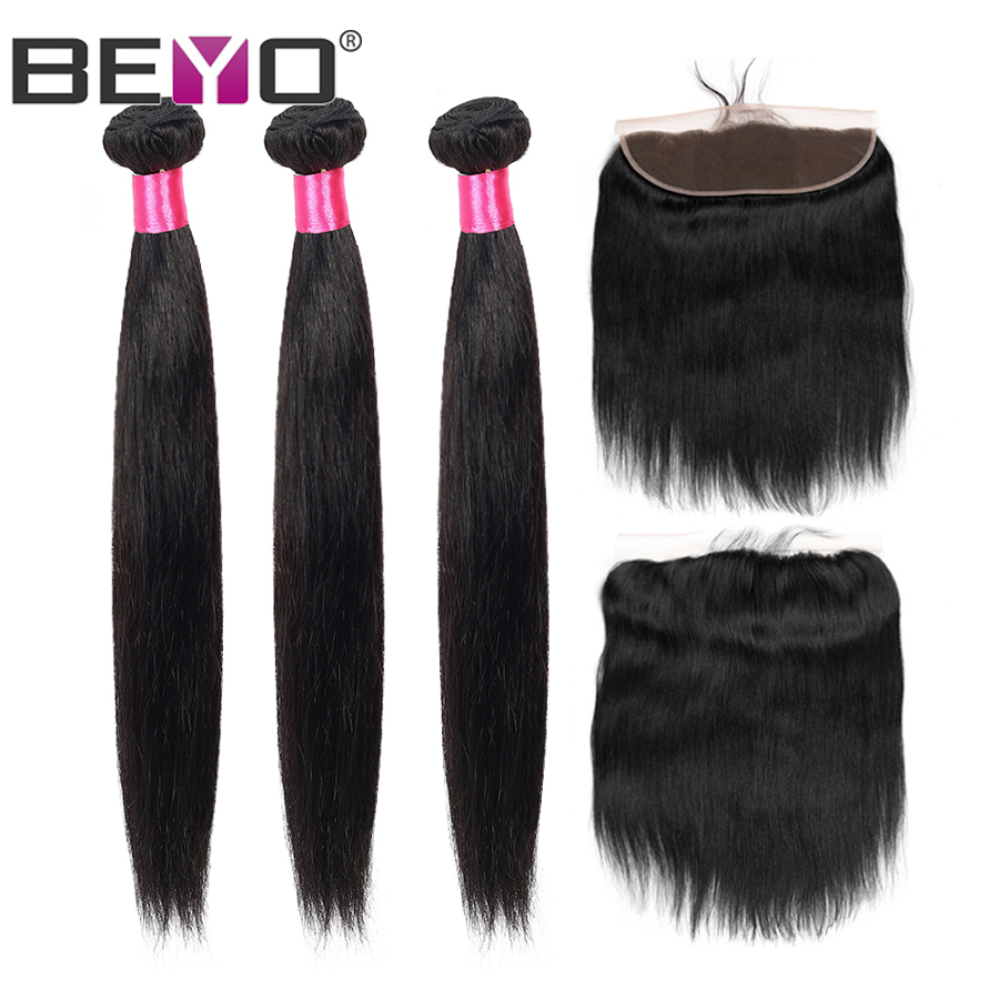 13x4 Lace Frontal Straight Hair Bundles With Frontal Indian Hair 3 Bundles With Frontal Closure Human Hair Non-Remy Beyo Hair