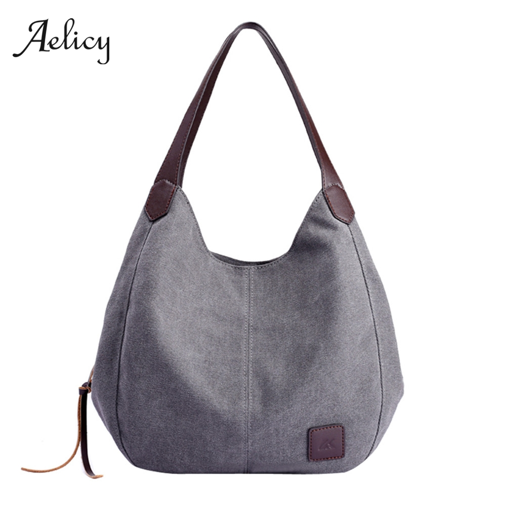 Aelicy Ladies Totes Handbags Canvas Hobos Multi-Pocket Vintage High-Quality Cotton Women's