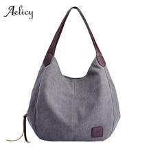 Aelicy, женские холщовые хлопковые сумки, высокое качество, женские вместительные Сумки на одно плечо, винтажные одноцветные сумки с несколькими карманами
