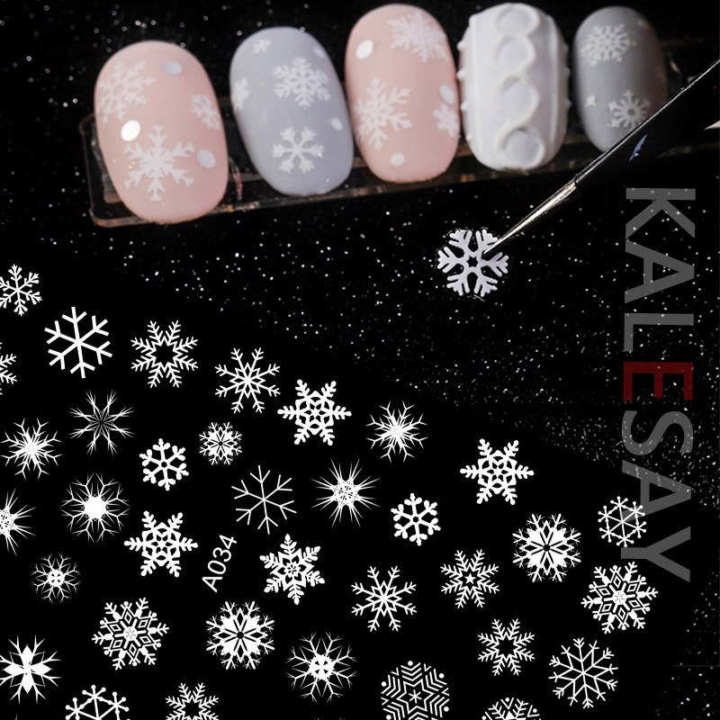 Merry Christmas Nail Art Decals Decoration Self Adhesive Nail Art Stickers Manicure Design White Snow Sticker for Nail Design