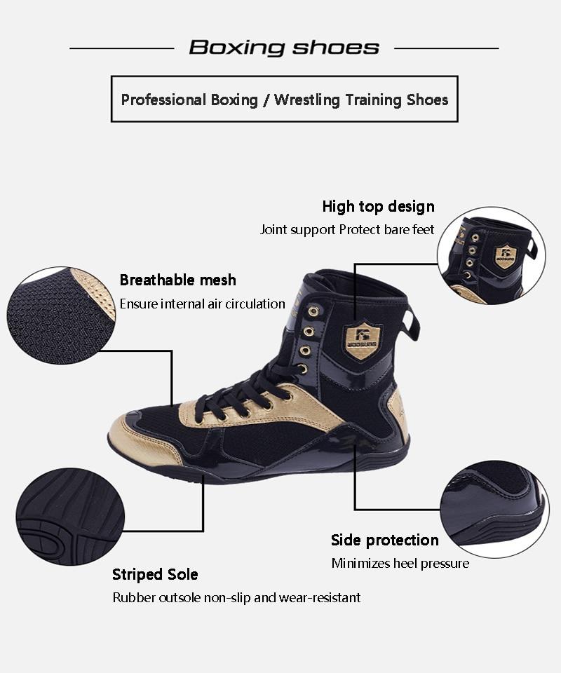 Boxing Wrestling Shoes Taekwondo Sanda Shoes Men and Women Professional Training High top Low top Fighting