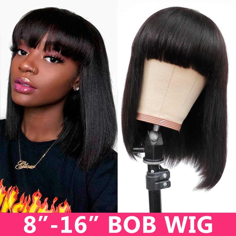 Gabrielle Braziliaanse Straight Menselijk Haar Pruiken Met Pony Korte Bob Pixie Cut Pruik Met Pony Menselijk Haar Perruque Cheveux Humain