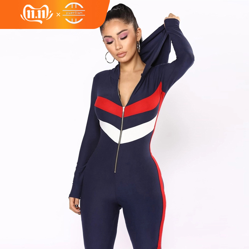 Zipper Hooded Rompers Jumpsuits For Women 2018 Patchwork Long Sleeve Bodysuit Street Wear Overall Women Playsuit Sexy Jumpsuit