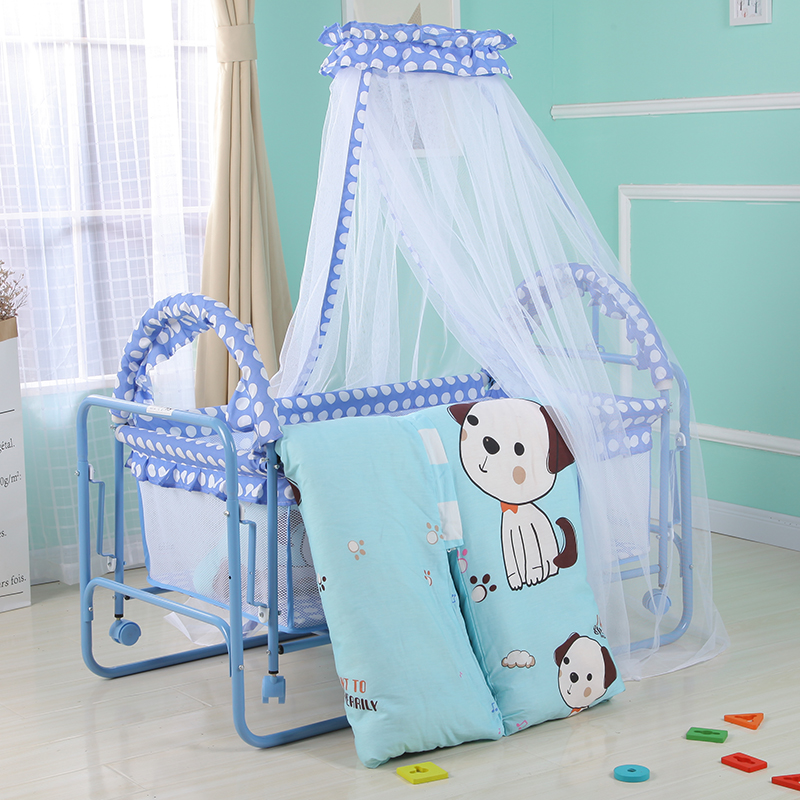 2 In 1 Rocking Baby Cribs Bed Infant Swing Cradle Cot Bed With Mosquito Net, Cotton Cushion, Quilt, Pillow