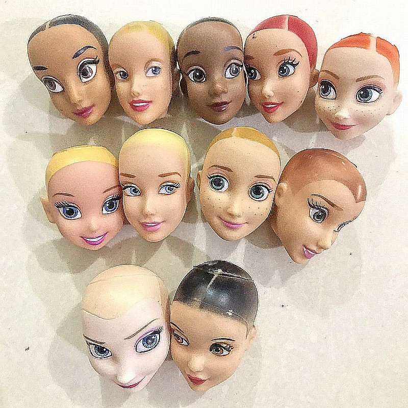 Rapunzel Princess Mermaid Original Doll Head / Brown & Black & Normal Skin Bald Head Doll Accessories DIY For 1/6 Doll