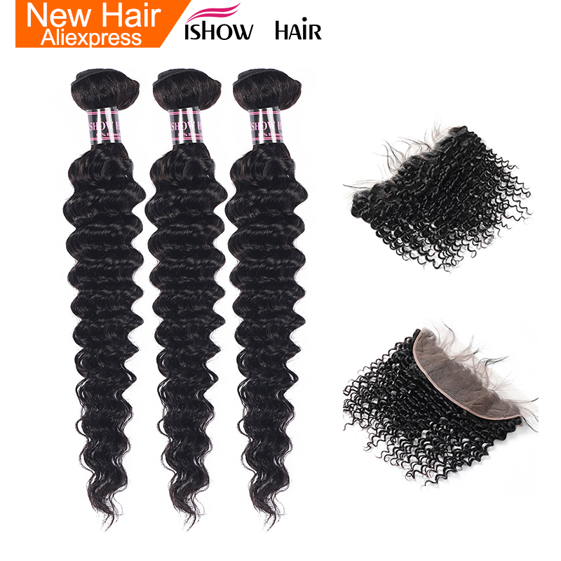 Ishow Deep Wave Bundles With Frontal Brazilian Hair Weave Bundles Human Hair Bundles With Closure Non Remy 13X4 Frontal Closure